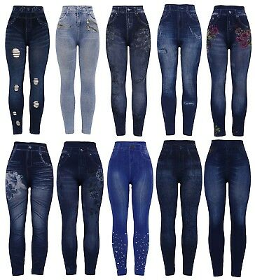 New Womens Stretchy Thick Denim Print Denim Look Ripped Skinny Jeggings Legging