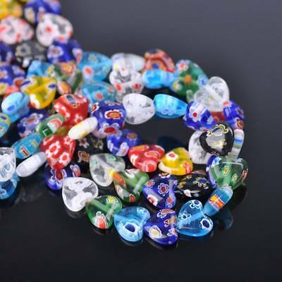 30pcs 10mm Heart Mixed Millefiori Glass Loose Spacer Beads Craft Findings Lots