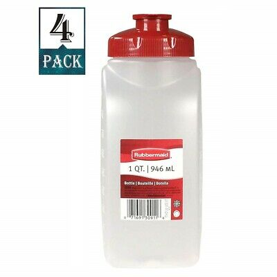 Rubbermaid Plus Bottle Mixing 1 Quart Spill-Proof Top (Pack of 4 Bottles)