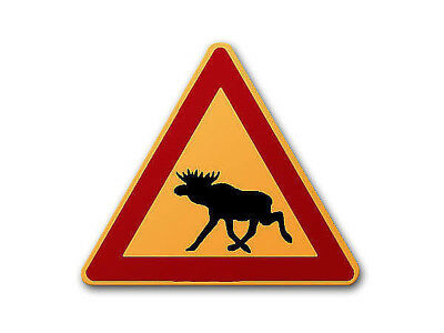Swedish Warning Sign MOOSE 2 - the Traffic Signs in Sweden - Red/Yellow S3428