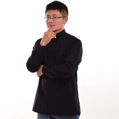 Black Priest Pastor Clergy Shirt with Clerical Collar Long Sleeve Top Blouse