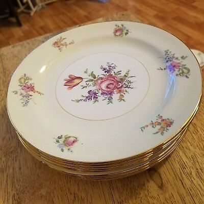 """SET OF 4 Household Institute Homer Laughlin China Priscilla - 8-1/8"""" SALAD PLATE"""