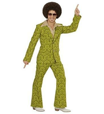 Mens Orange Retro Tube Suit Night Fever Fancy Dress Costume 1970S Groovy Outfit