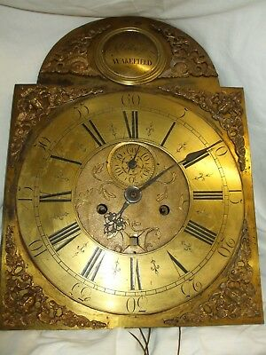18thc ORNATE BRASS 8 DAY LONGCASE CLOCK MOVEMENT AND DIAL JOHN HOLROYD WAKEFIELD