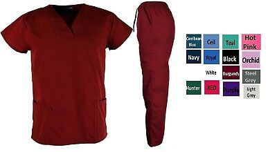 Medical Nursing Scrubs V-Neck Top & Bottom Set Unisex Men's Women's - 15 Colors