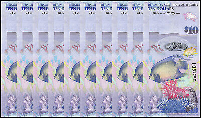 Bermuda 10 Dollars X 10 Pieces - PCS, 2009, P-59, UNC, Onion Prefix