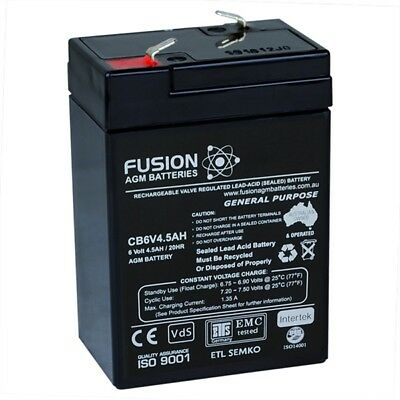 Brand New 6V 4.5AH >4AH AGM Rechargeable Sealed Lead Acid Battery FUSION