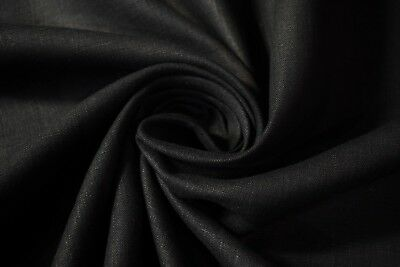"Jet Black 7 OZ. 100% Flax Linen Organic Fabric 57"" Wide Apparel Shirting Soft"
