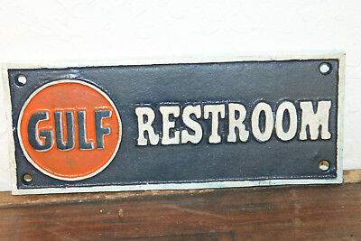 Vintage Style Gulf Gas Station Restroom Cast Iron  Sign Oil