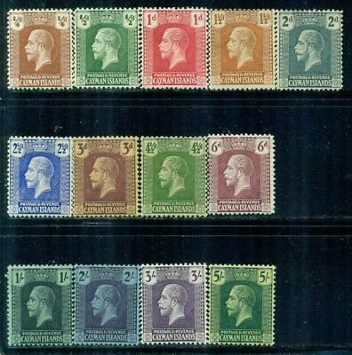 CAYMAN ISLANDS 50-62 SG69-82 MH 1921-26 KGV short set Wmk Mult Script CA Cat$108