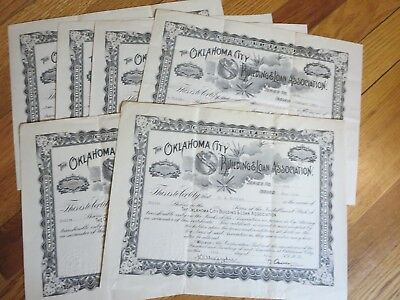 Lot of 6 - 1922 The Oklahoma City Building & Loan Association STOCK CERTIFICATES