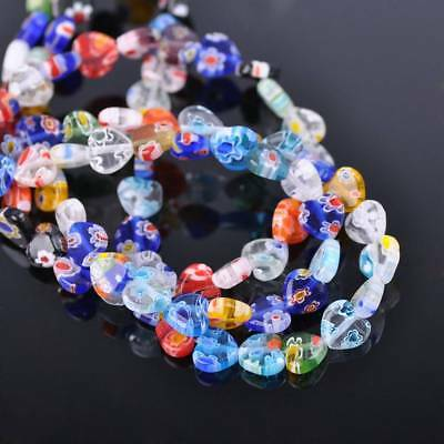 50pcs 8mm Heart Mixed Millefiori Glass Loose Spacer Beads Craft Findings Lots