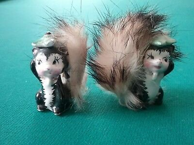 Vintage Miniature Ceramic & Fur  Skunks What Not Figurine Xmas Ornaments