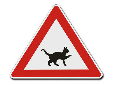 Triangular Traffic Sign with Motif - Cat - S4343
