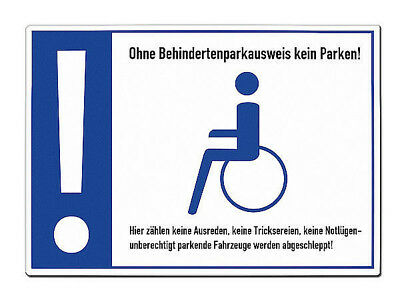 Warning Sign behindertenparkplatz - a4-format Made of Aluminium S5566