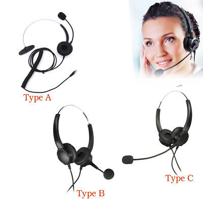 Call Center Corded Operator Telephone Headset RJ11 Monaural Headphone Office