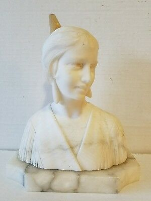 ITALIAN ALABASTER Carved ART NOUVEAU / Art Deco FLAPPER GIRL BUST