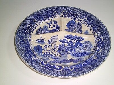 Vintage Blue Willow Japan Divided Grill Plate