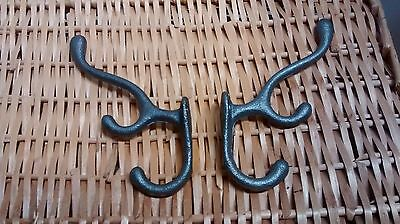 4 Cast Iron TRIPLE SCHOOL Style Coat Hooks Hat Rack Hall Tree Restoration