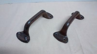 4 Cast Iron RUSTIC Barn, Gate, Shed or Door Handles Bown color