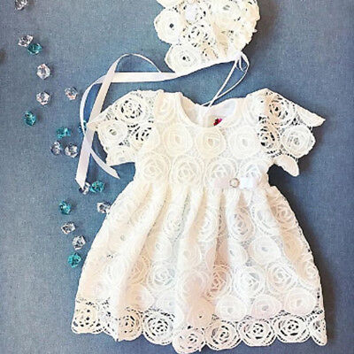 Flower Newborn Baby Girls Lace Tutu Dress Party Wedding Princess Dresses 0-24M