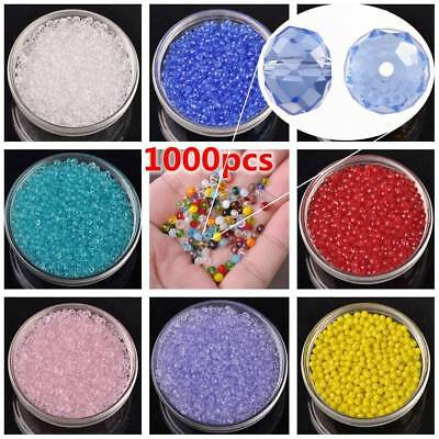 1000pcs 4x3mm Small Rondelle Faceted Crystal Glass Loose Spacer Beads Bulk Lots