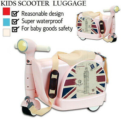 New Deluxe Kid Wheeled Rolling Suitcase Travel Bag Luggage Scooter PRINCESS PINK