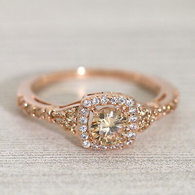 Rose Gold Halo Ring/Champagne CZ Promise Ring/Dainty Stacking Ring 998