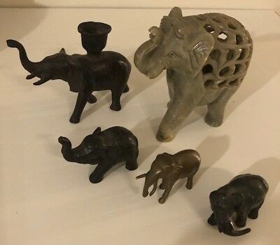 Set of 5 elephant figurines stone, brass, lead, and wood collectibles