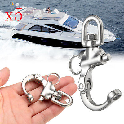 5Pcs 316 Stainless Steel Boat Anchor Chain Eye Shackle Swivel Snap Hook 2.68""