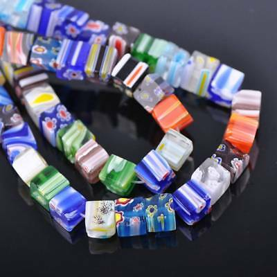 50pcs 8mm Cube Sauqre Millefiori Glass Loose Spacer Beads Craft Findings Lots
