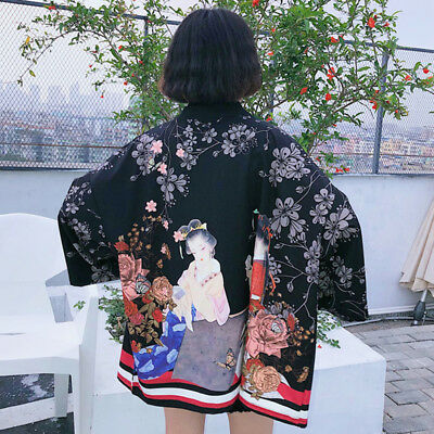 Japanese Harajuku BF Style Vintage Print Loose Summer Bathrobe Kimono Coat Woman
