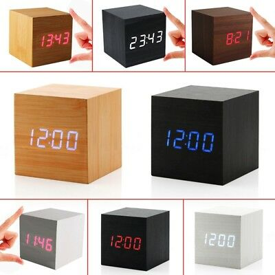 USB Sound Control Wood Cube Digital LED Desk Alarm Clock Thermometer Timer NEW