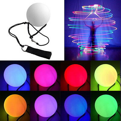 Multi-Coloured LED Glow POI Thrown Balls Light up For Belly Dance Hand 1P