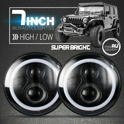 "2x 7"" Inch Round LED Halo Angle Eyes Headlights For Jeep Wrangler TJ/LJ/CJ/JK"