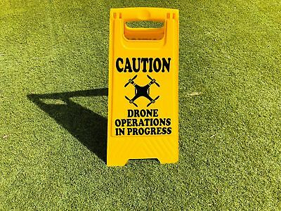 Safety A Frame Caution Sign - Drone Operations in Progress - Drone Image