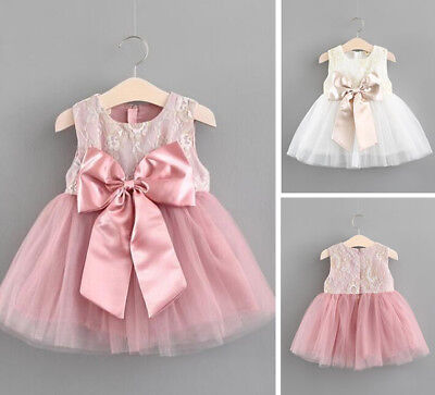 Baby Girl Newborn Infant Princess Dress Party Formal Pageant Dance Skirt Outfit