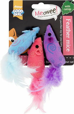 Good Girl Cat Kitten Soft Feather Mice With Catnip Play Game Toys 3 Pack