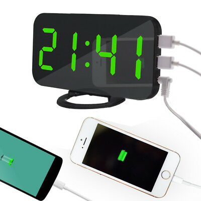 Digital LED Alarm Clock Make-up Mirror Table Desktop Decor W/Dual USB Port