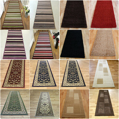 Long Modern Traditional Striped Shaggy Hallway Hall Runner Rug In Multi Colours