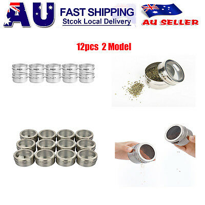 12 x Storage Magnetic Spice Tin Jars Stainless Steel Condiment Holder Container