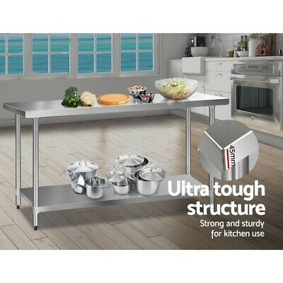 304 Stainless Steel Food Prep Table Kitchen Work Bench Chef Island 1829mm