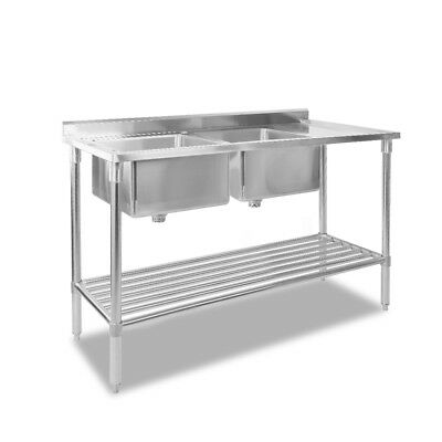 Commercial Double Stainless Steel Sink Kitchen Chef Work Food Prep Bench Shelf