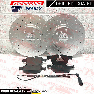 FOR BMW X5 X6 FRONT CROSS DRILLED BRAKE DISCS PLATINUM PD PADS 348mm COATED