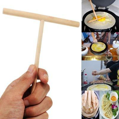 1PCS 12*17cm Wooden T Letter Kitchen Stick Spreader Crepe Pancake Batter Maker