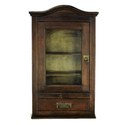 Hand Carved Oak Medicine Wall Kitchen Cabinet Apothecary Glass Display Door