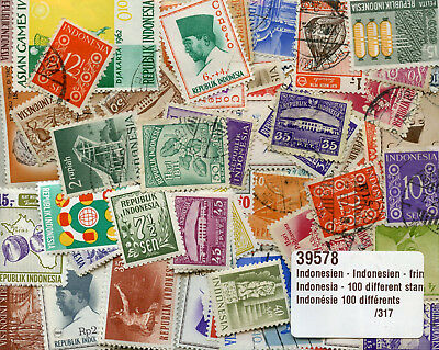 Indonesia Collection of 100 Different Stamps Indonesie Timbres Briefmarken