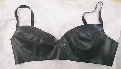 Black Latex Bra 32C Rubber Gummi Fetish