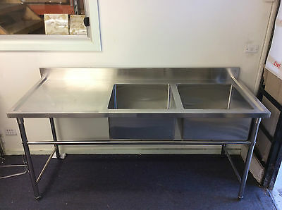 Brand New Commercial Stainless Steel Double Sink 1800x700x900x100 mm
