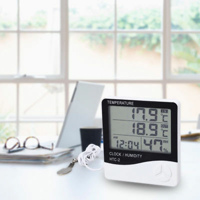 In/Outdoor Temperature Humidity Monitor LCD Alarm Clock Hygrometer Thermometer